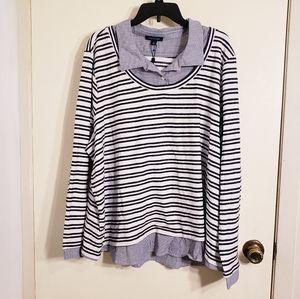 Tommy Hilfiger Striped Sweater Knit Shirt 3x